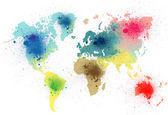 Colorful world map with paint splashes — Stock Photo