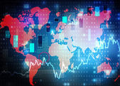 World map stock market background — Stock Photo