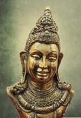 Buddha head bronze statue — Stock Photo