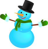 Snowman with hat with scarf — Stock Vector