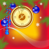 New Year clock on a red background — Stock Vector