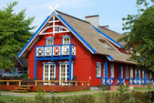 Red wooden house — Stock Photo