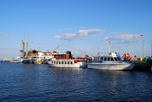Lithuania, the Baltic Sea, the small port of ships — Stock Photo