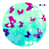Abstract Blue Background With Purple Butterflies — Stock Vector