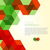 Abstrato com cubos de vermelhos e verdes — Vetor de Stock