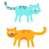 Blue And Orange Cute Cats. Vector Illustration — Stock Vector