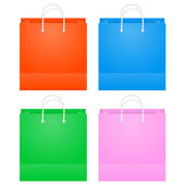Colorful Paper Shopping Bags Isolated On White — Stockvektor