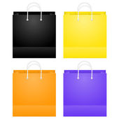 Colorful Paper Shopping Bags Isolated On White — Stock Vector