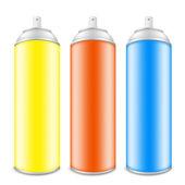 Colorido latas de pintura en aerosol — Vector de stock