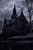 Ancient frightening church in twilight — Stock Photo