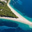 Aerial photograph of famous Zlatni Rat beach in Bol, Brac Island - Stock Photo