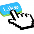 Like button with mouse cursor — Stock Photo
