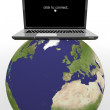 World globe,Laptop on a map — Stock Photo #27161999