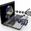 Laptop with hands in the form of the planets — Stock Photo #27195311