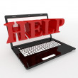 Stock Photo: Laptop help symbol (done in 3d, isolated)