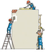 Man paints the wall — Stock Vector