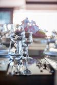 Glasses on Glass Table — ストック写真