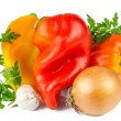 Stock Photo: Sweet pepper, onion, garlic with greens