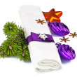 White napkin with Christmas decoration and twig Christmas tree — Stock Photo