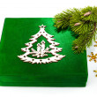 Royalty-Free Stock Photo: New Year green box with twig Christmas tree