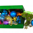 Opened New Year green box with twig Christmas tree — Stock Photo