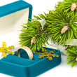 Box with golden ring and twig Christmas tree — Stock Photo