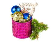 Christmas decoration and twig Christmas tree — Stock Photo