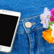 Mobile phone in pocket of blue jeans with flowers — Stock Photo
