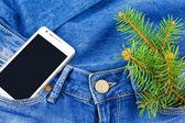 Mobiltelefon i fickan på jeans och twig julgran — Stockfoto