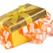 Stock Photo: Golden box with bow and pink ribbons