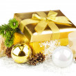 Golden box with twig Christmas tree inside and decoration — Stock Photo