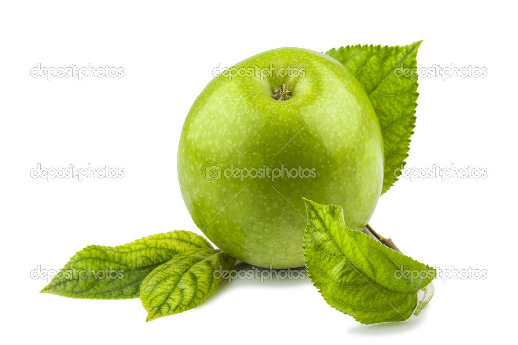 Macro view of green apple with green leaves isolated on white background — Stock Photo #17757441