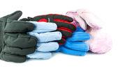 Multicolored ski gloves — Stock Photo
