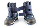 Blue winter boots — Stock Photo