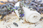 Towel with lavender and sea salt — Stock Photo