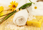 Bath towel with sea salt and oil on the mat — Stock Photo