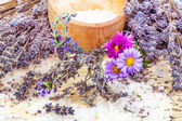 Composition from lavender and sea salt — Stock Photo