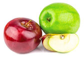 Fresh green and red apples — Stock Photo