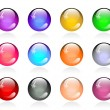 Set of glossy color round buttons — Stock Vector #21260653