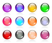 Set of glossy color round buttons — Stock Vector