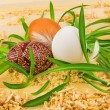 Three eggs in nest from grass — Stock Photo