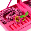 Stock Photo: Open pink box with decoration