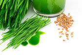 Wheatgrass juice with sprouted wheat and wheat — Stock Photo