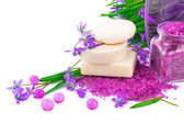 Spring concept with soap and snowdrops — Stock Photo