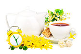 Composition from cup of tea, clock and spring flowers — Stock Photo