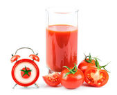 Concept with tomato juice, red clock and tomato — Stock Photo