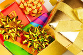 Gold boxes with gifts — Stockfoto