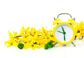 Spring yellow concept with clock and flowers — Stock Photo
