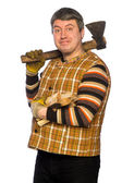 Happy woodcutter — Stock Photo