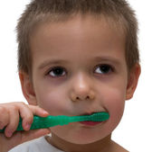 Boy with toothbrush — Stock Photo